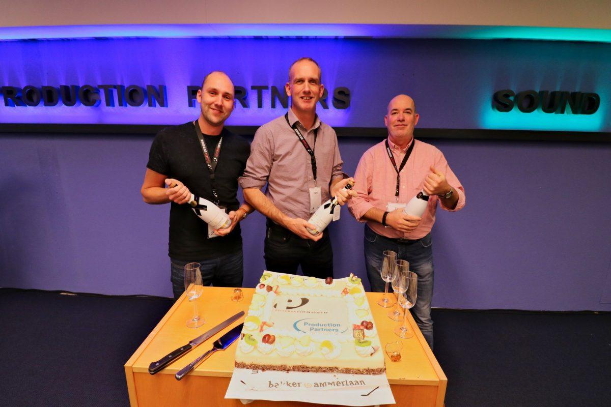 Patrick Botterman, Hans Peitsman en Ed de Bree proosten op overname Production Partners