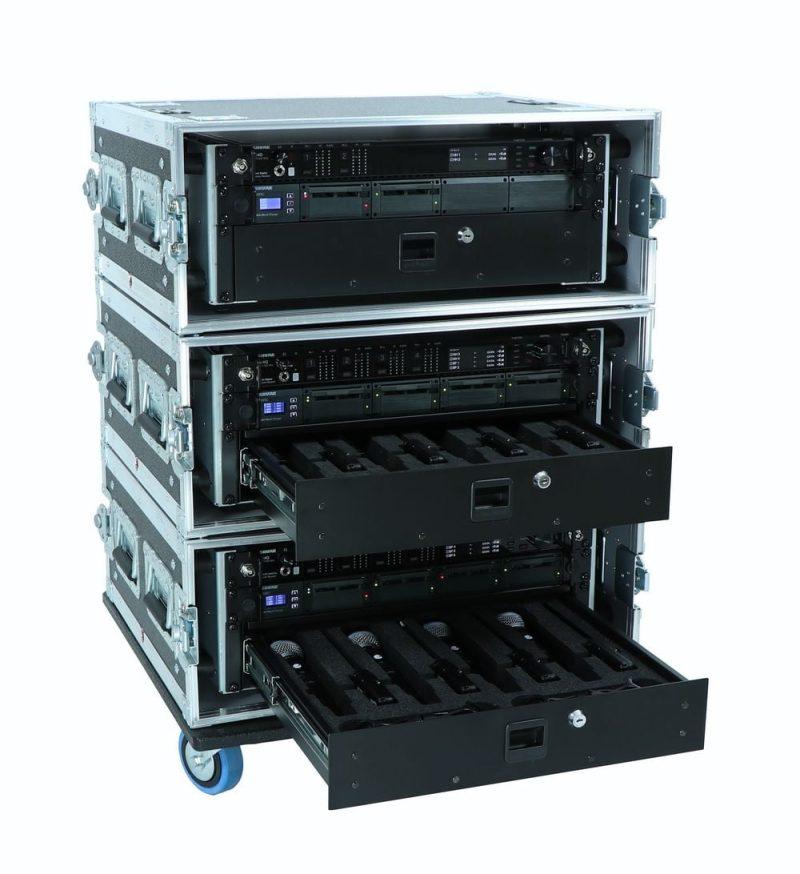 Shure Axient Digital rack Quad en Dual ontvanger in Flightcase Peitsman Rotterdam