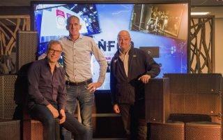 V.l.n.r.: Francois Hobma (CEO NFGD), Hans Peitsman (directeur Peitsman Licht en Geluid), René Simmers (Operationeel Manager Verhuur NFGD)